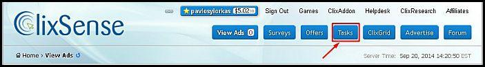 online tasks form money - Clixsense Success