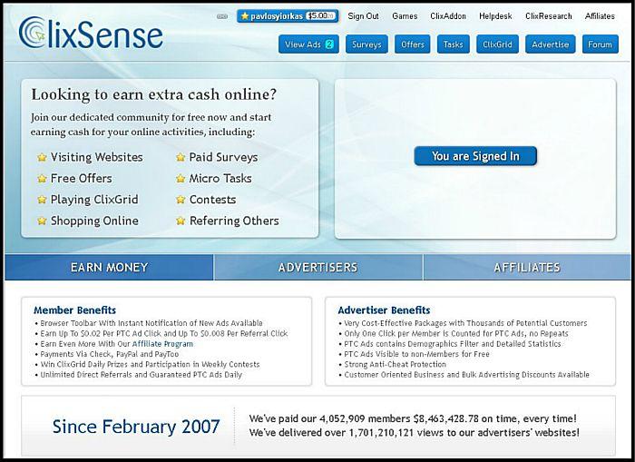 tâches en ligne pour de l'argent - Clixsense Success