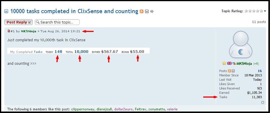 online tasks for money- Clixsense success