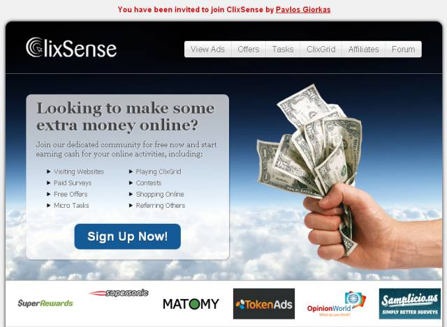 clixsense splash page example