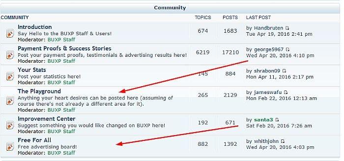 buxp forum screenshot get free referrals