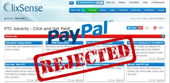 No More PayPal on Clixsense