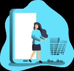 illustration of woman pushing a shopping cart